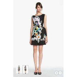 Diane Von Furstenberg DVF Tella Silk Paint Splatter Dress Black Pink Size 12